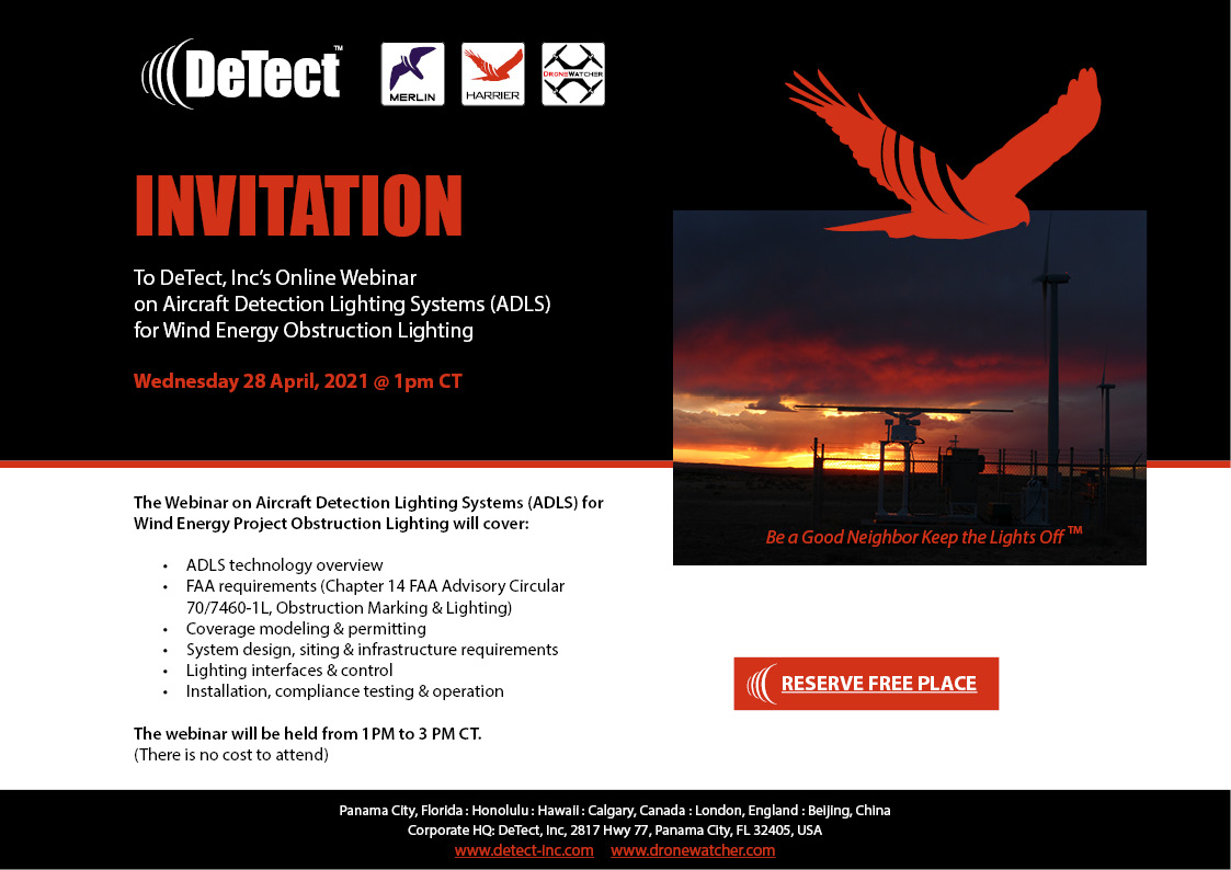 Invite: DeTect, Inc's Online Webinar on Aircraft Detection Lighting Systems (ADLS) for Wind Energy Obstruction Lighting